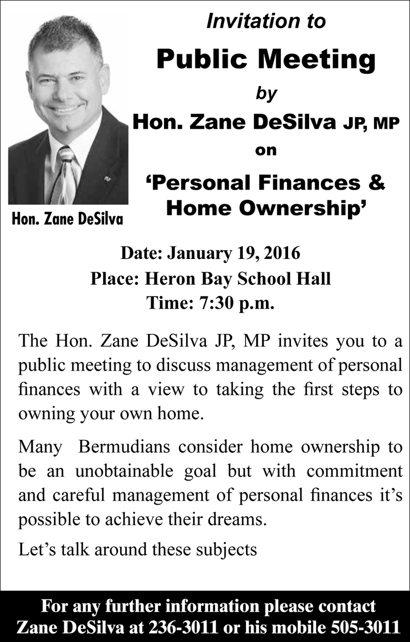 Public Meeting by Zane DeSilva Bermuda Jan 13 2016