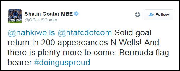 Shaun Goater MBE Tweet Bermuda Jan 10 2016