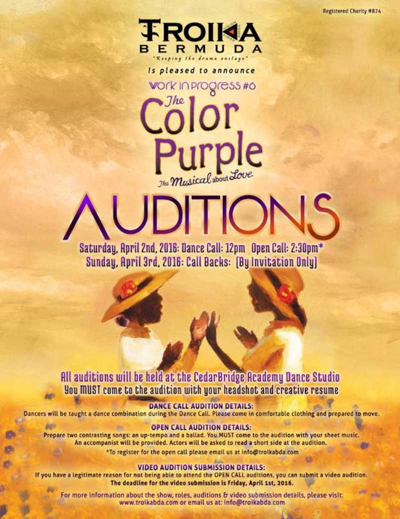 Troika Color Purple Auditions