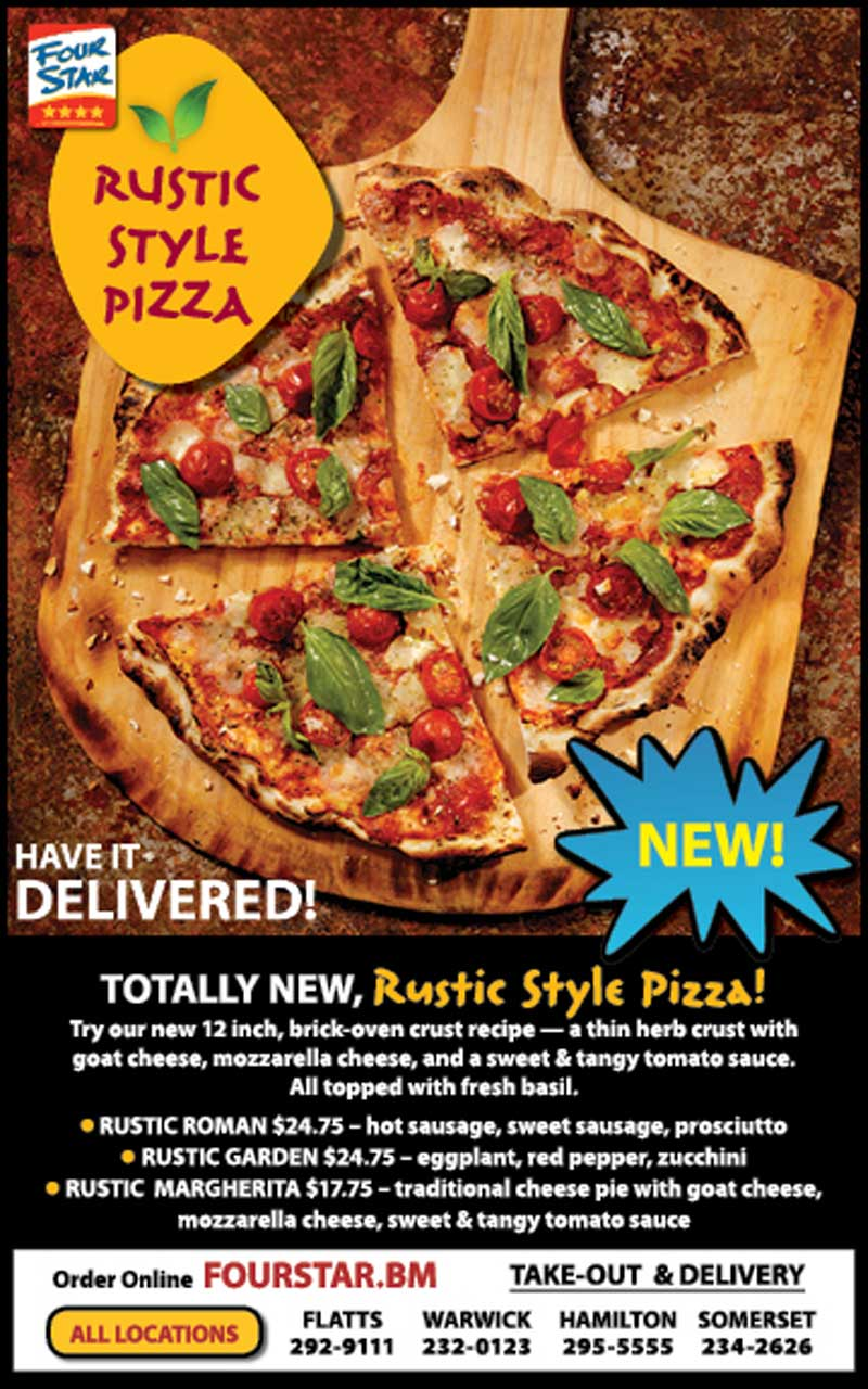 four star introduces new rustic pizza to menu bernews bernews. Black Bedroom Furniture Sets. Home Design Ideas