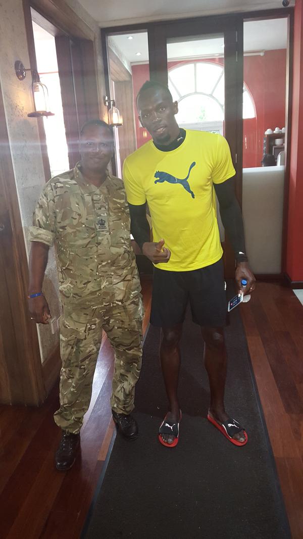Sgt Major Rupert Lambert with Usain Bold