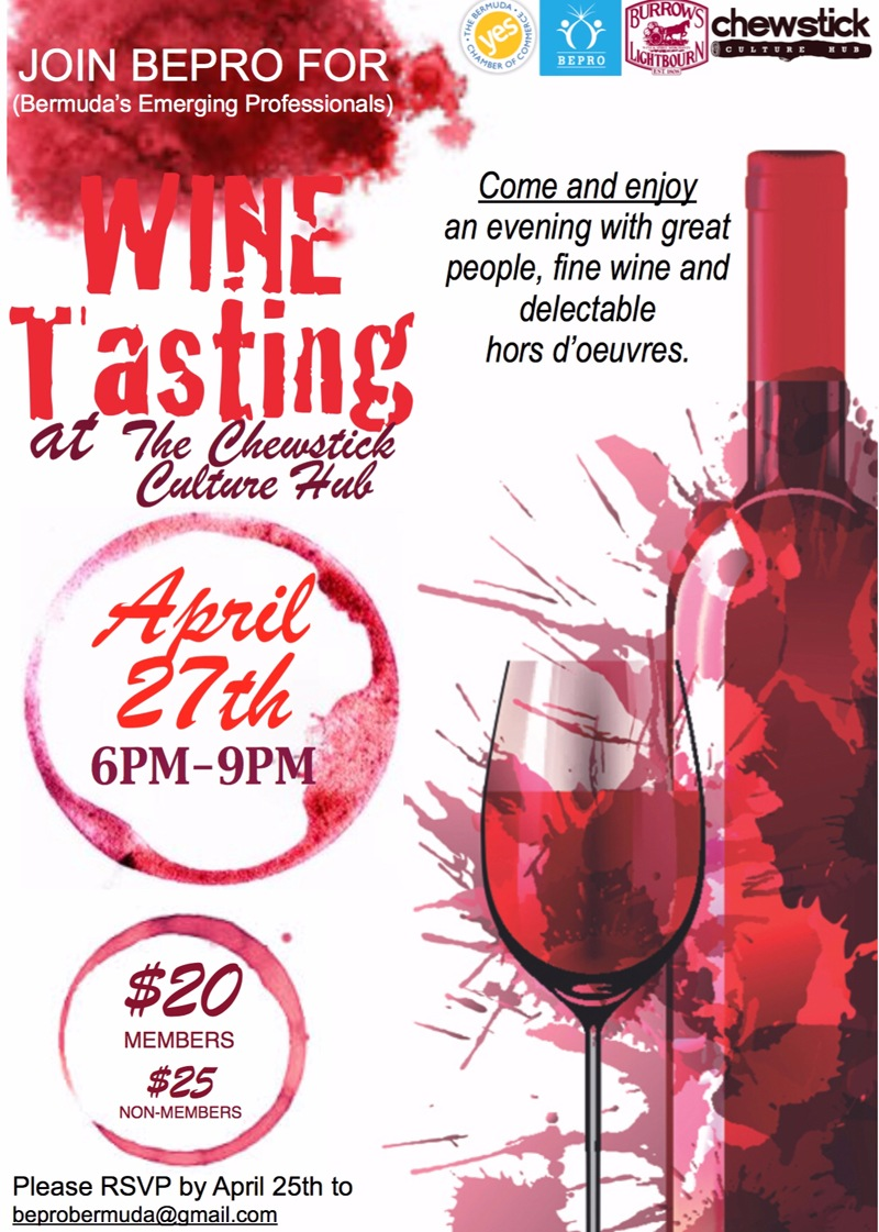 chewstick wine tasting Bermuda April 23 2016
