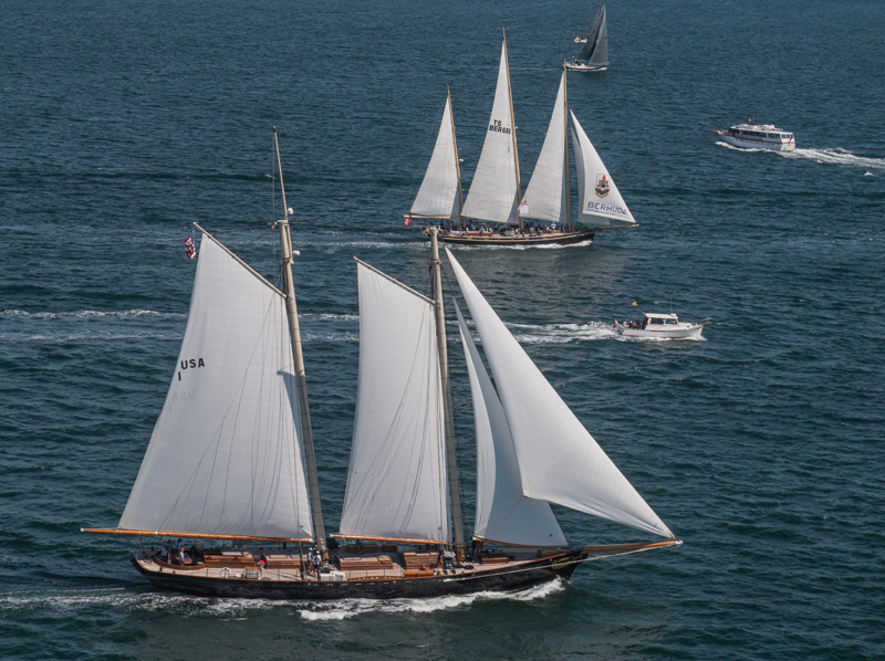 2016 Newport Bermuda Yacht Race Start. Class 0 Spirit of Tradition schooners  2-masted AMERICA	USA 1 skippered by Troy Sears, and 3-masted SPIRIT OF BERMUDA	BER 688		RBYC	Bermuda Sloop Foundation