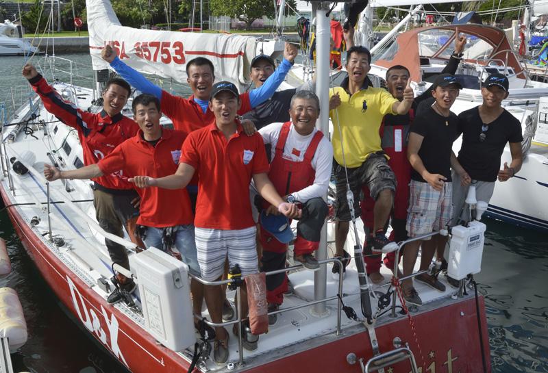 2016 Newport Bermuda Yacht Race finish. The Chinese crew on the J44   SPIRIT OF NOAHS from Noahs (Shanghai) Sailing Club, (Left to right) Zhang Minhang, Cao Zhongqiu, Yi Xiaobin, Chen Fulin, Lin Songmin, Dong Qing (skipper), Lin Zhiwei, Zhu Bao, Yuan Shua