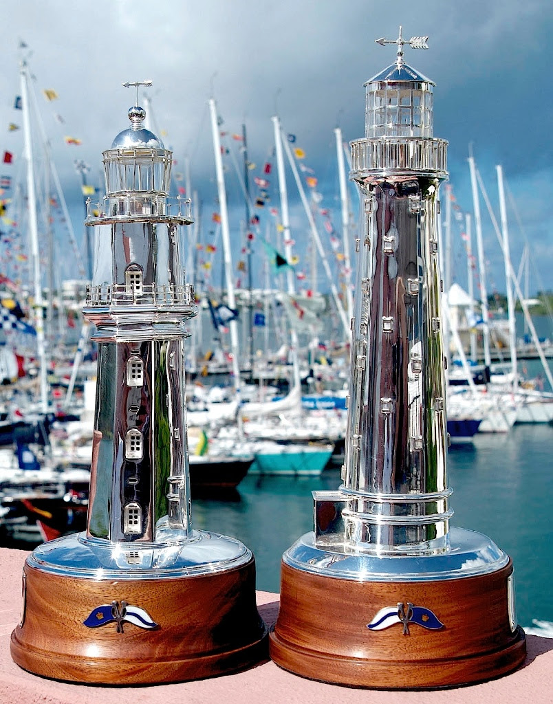 The St David's Lighthouse Trophy (L) and the Gibbs Hill Trophy  Bermuda June 21 2016