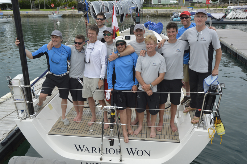 2016 Newport Bermuda Yacht Race finish. WARRIOR WON, 2nd on elapsed time within the traditional fleet. From left to right: Roland Schulz, Ryan Zupon, HL Devore (navigator), Andres de Lasa, Peter Carpenter, Chris Simon, Chris Sheehan (skipper) Paul 'Whirly