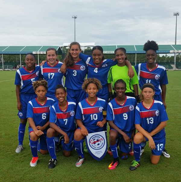 Bermuda U15 girls football team aug 16