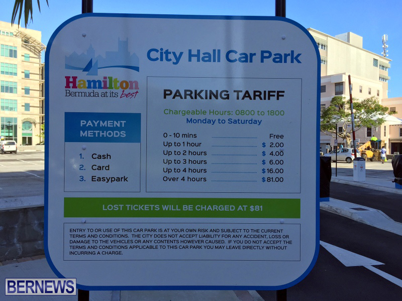 City Hall Car Park Pay Signs Bermuda August 2016 (1)
