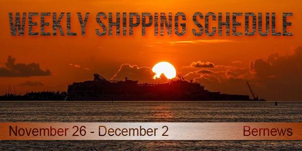 Weekly Shipping Schedule Bermuda TC November 26 - December 2 2016