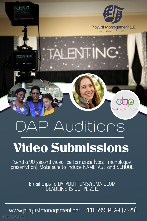 DAP Online Video Audition Submission Bermuda September 2016