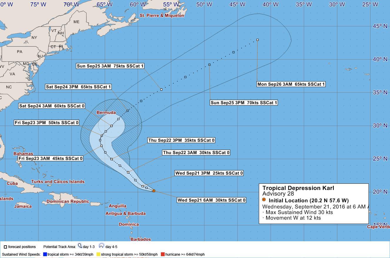 Tropical Depression Karl September 21 2016