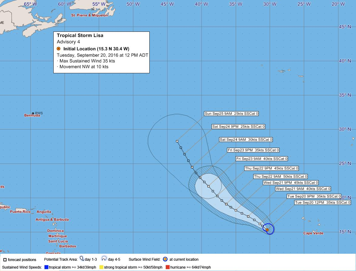 Tropical Storm Lisa September 20 2016
