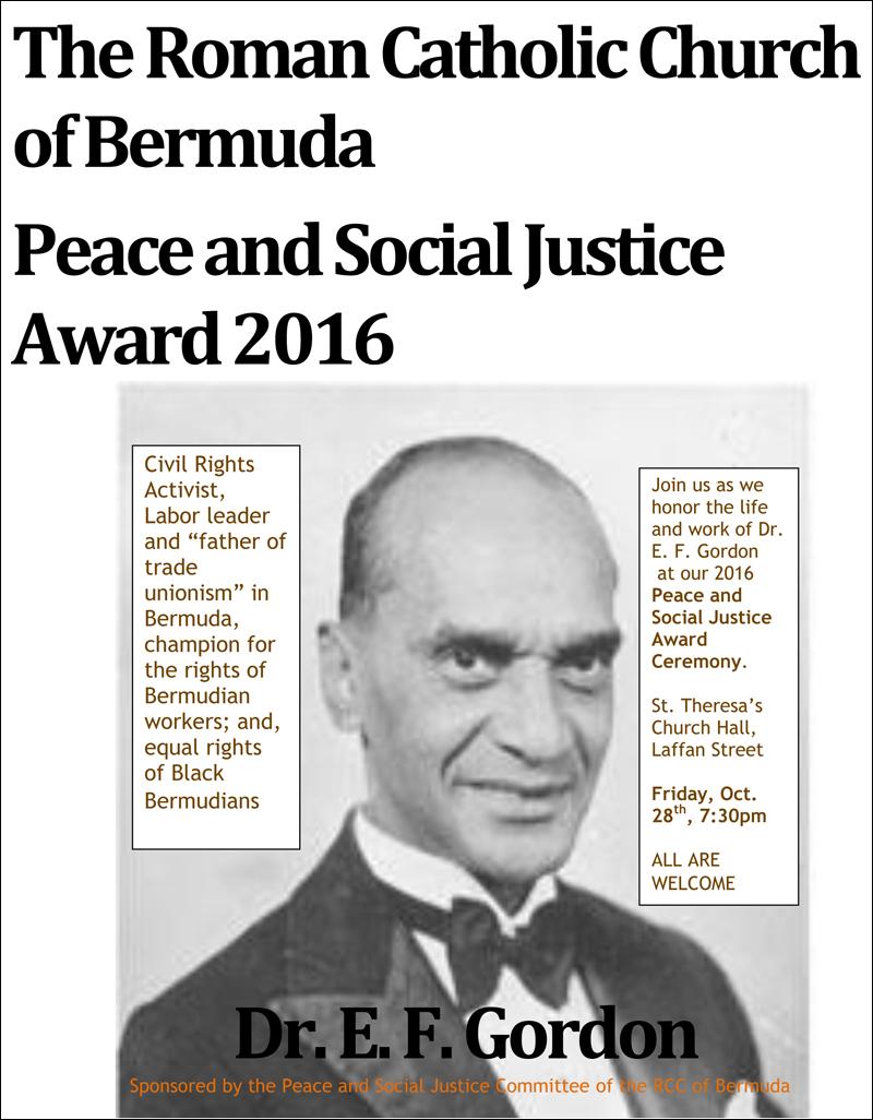 Peace and Social Justice Award Bermuda Oct 2016