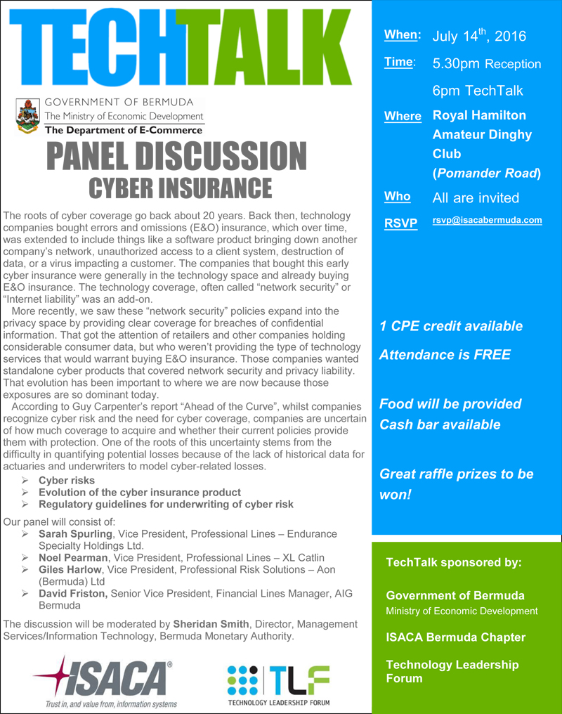 Cyber Insurance Techtalk Bermuda July 14 2016