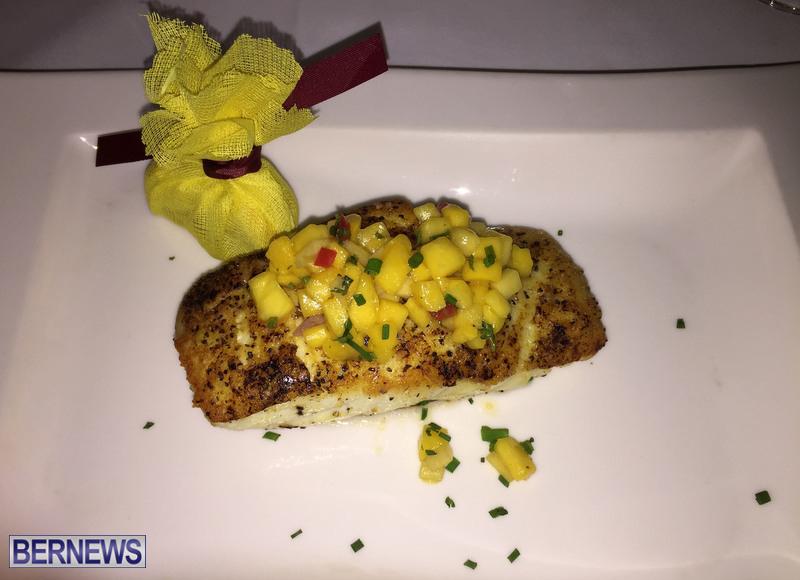 Pan seared grouper with mango salsa at Waterlot Bermuda RW January 2017