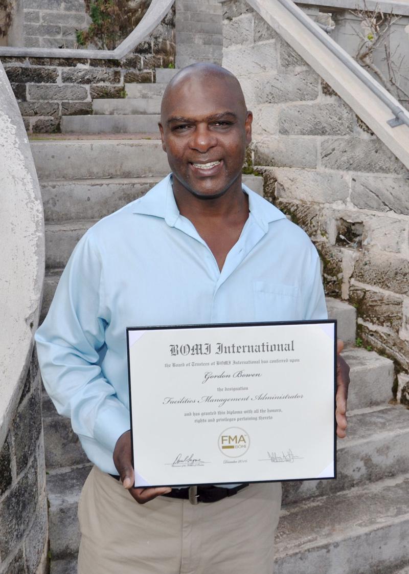 BOMI FMA Graduate Gordon Bowen certificate Bermuda February 2017