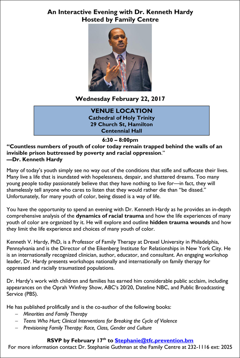 Interactive Evening with Dr Kenneth Hardy Bermuda Feb 2017