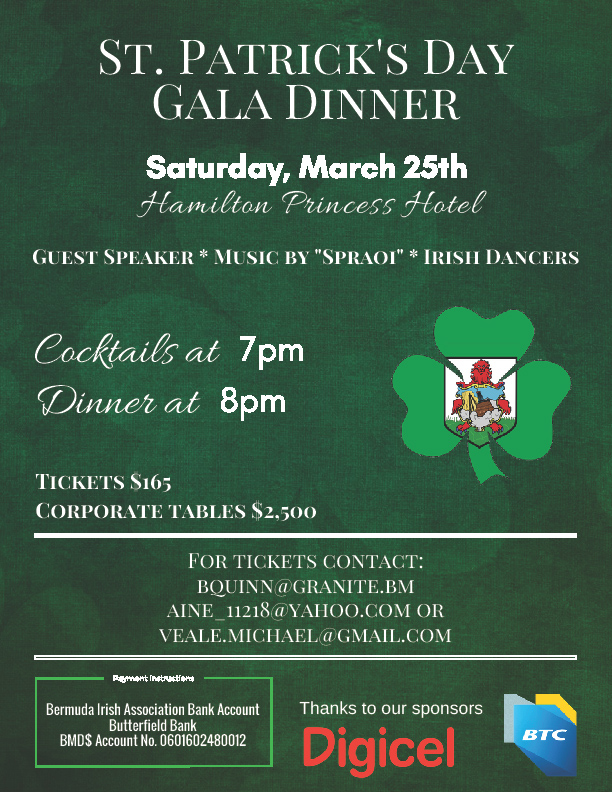 St Patrick's Day Gala Bermuda February 2017