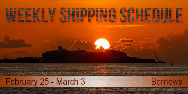 Weekly Shipping Schedule Bermuda TC February 25 - March 3 2017