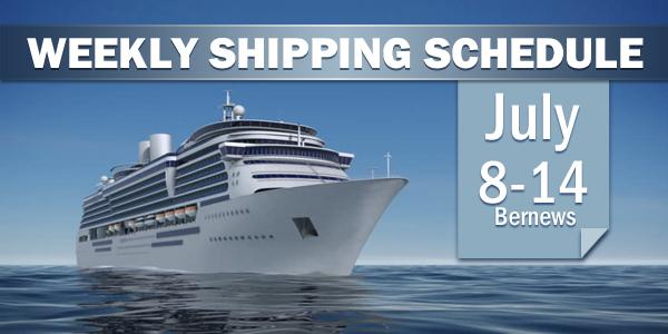 Weekly Shipping Schedule Bermuda TC July 8 - 14 2017
