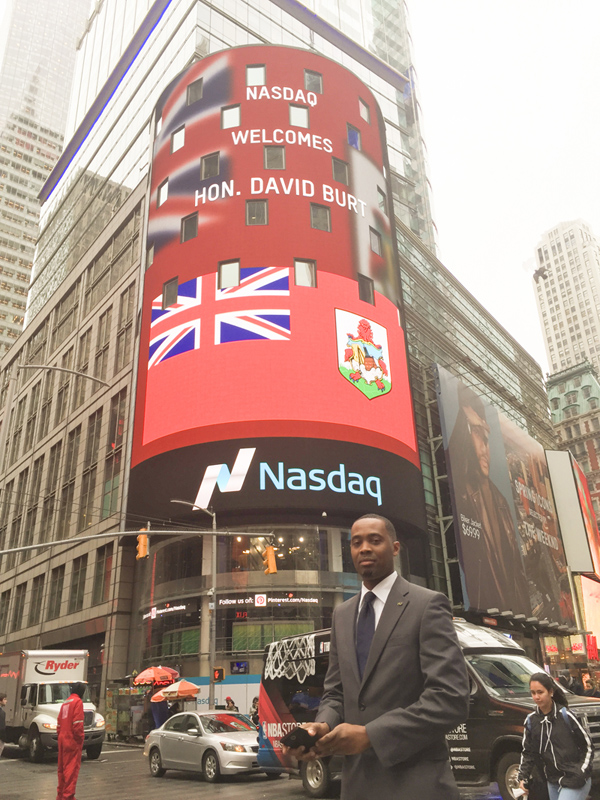 David Burt Nasdaq Sign Bermuda April 9 2017