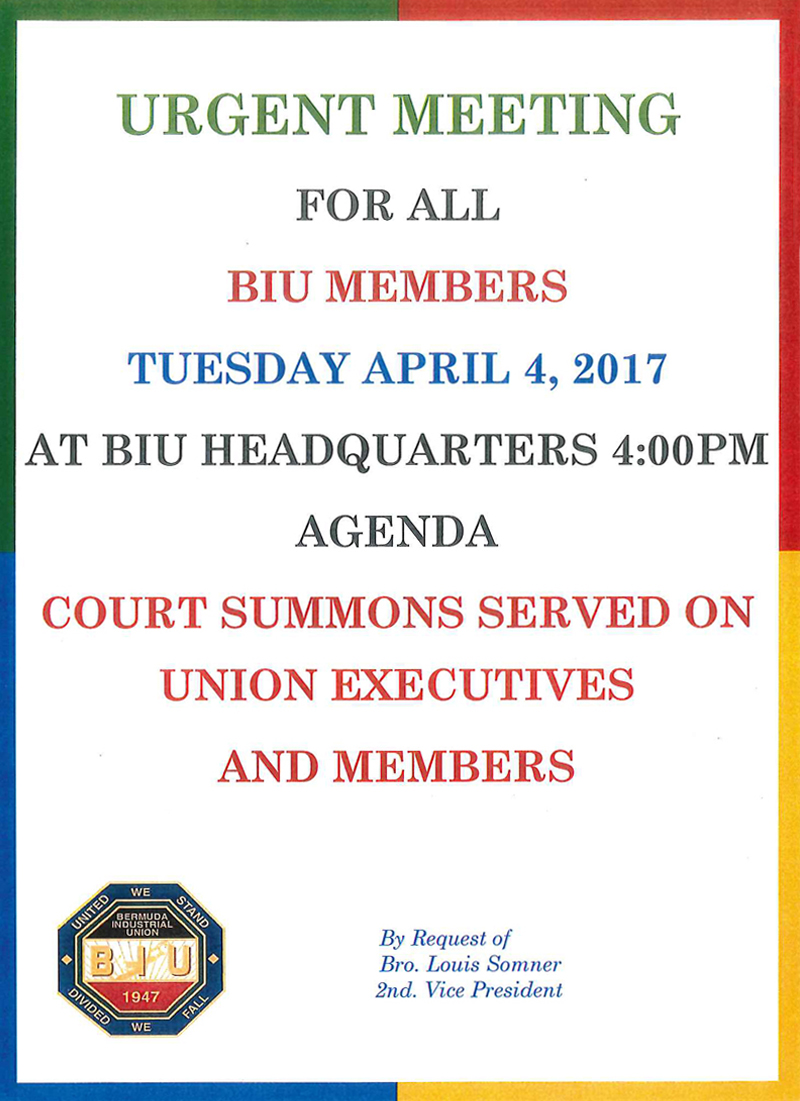 Urgent Meeting BIU Bermuda April 3, 2017 2