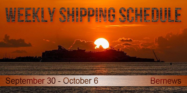 Weekly Shipping Schedule TC September 30 - October 6 2017