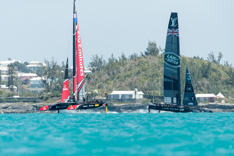 Emirates Team New Zealand sailing on Bermuda's Great Sound practice racing in the lead up to the 35th America's Cup