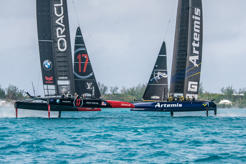 America's Cup Class (ACC) boats practice racing in Bermuda