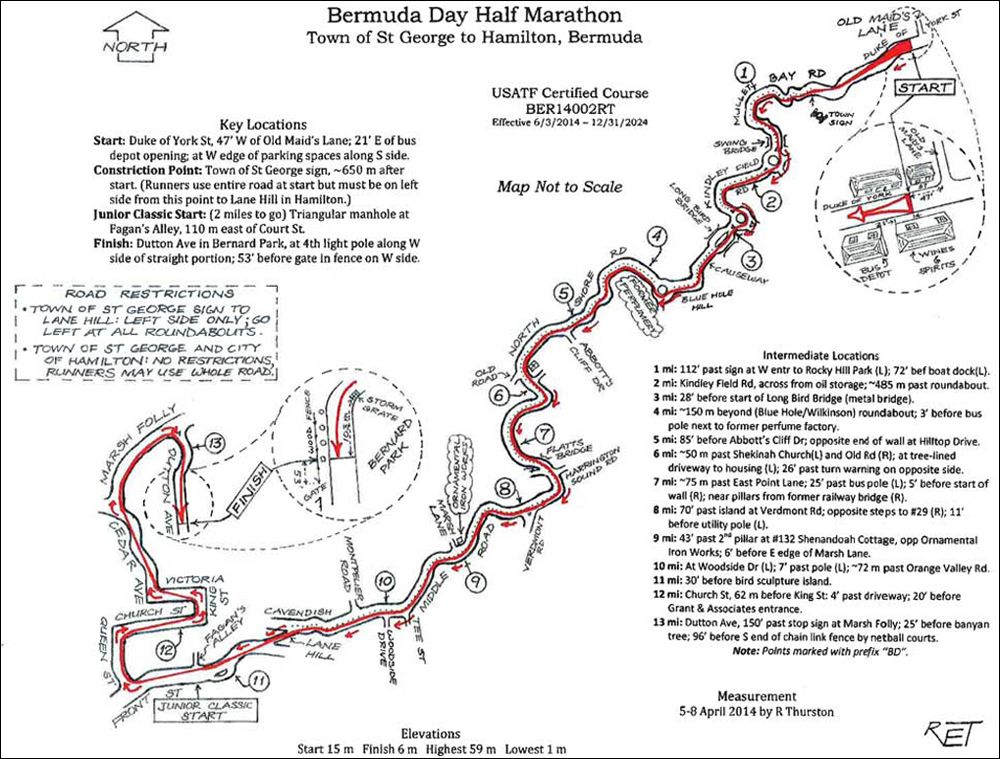 Bermuda Day Half Marathon Map May 21 2017