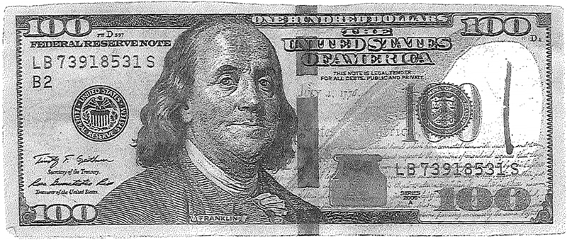 Counterfeit U.S. $100 Note LB73918531S