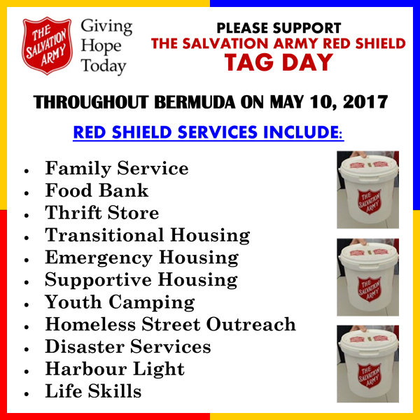 Salvation Army Red Shield Tag Day Bermuda May 2017