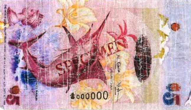 Counterfeit Bermuda $5 Note 000000 specimen June 5 2017