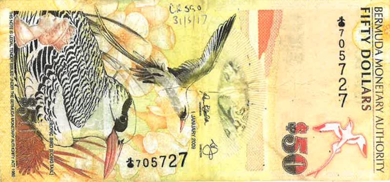 Counterfeit Bermuda 50 Note 705727 June 5 2017