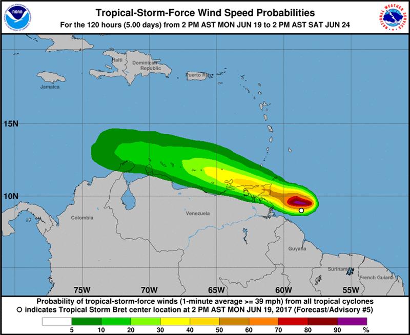 TROPICAL STORM BRET Bermuda June 19 2017 NHC