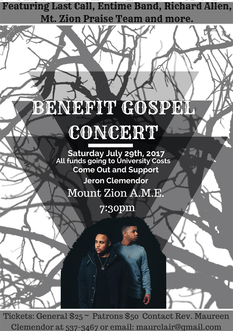 Save the Date Gospel Benefit Concert July 29nd, 2017