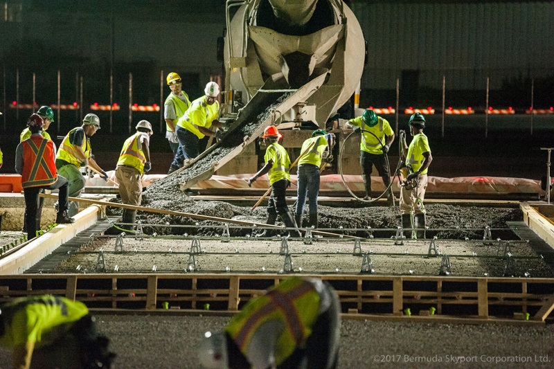 First Concrete Pour At Airport Bermuda July 2017 (1)