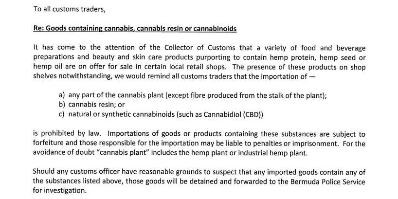 Customs Clarifies Rules, Hemp Products Letter - Bernews