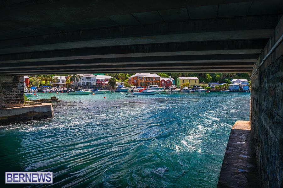 387 Under Flatt's bridge looking towards the beautiful colors of the village buildings