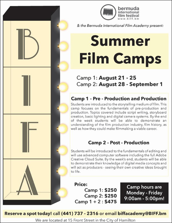 BIFF & BIFA Summer Film Camps Bermuda Aug 2017