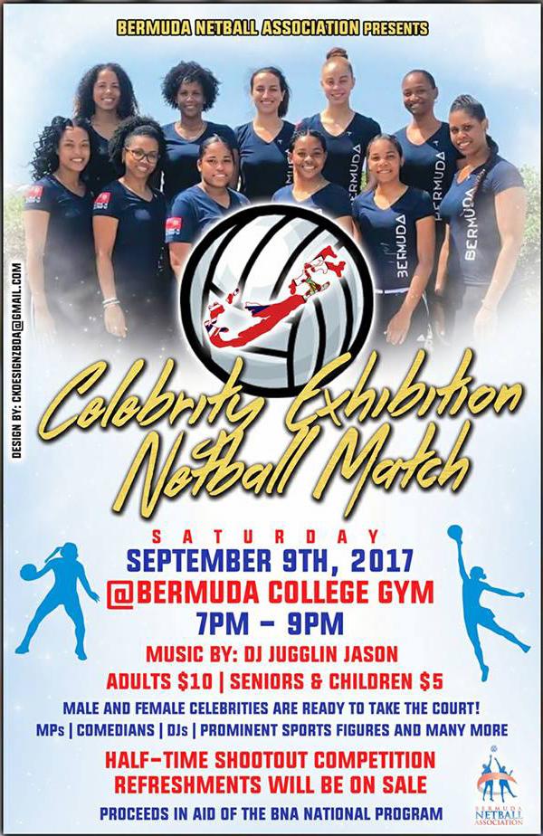 Celebrity Exhibition Netball Match Bermuda Aug 2017