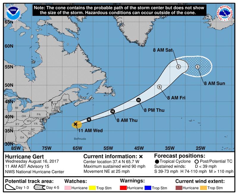 Hurricane Gert NHC Bermuda Aug 16 2017