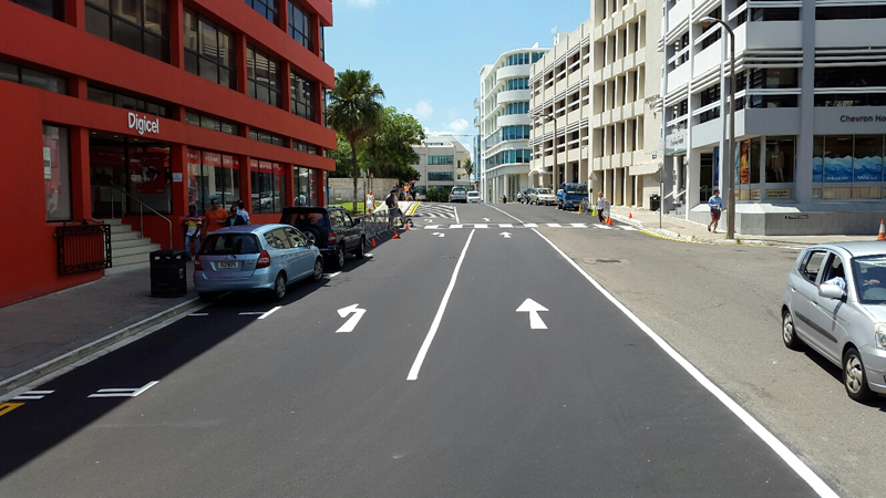 Par-la-Ville Car Park New Traffic Layout Bermuda August 22 2017
