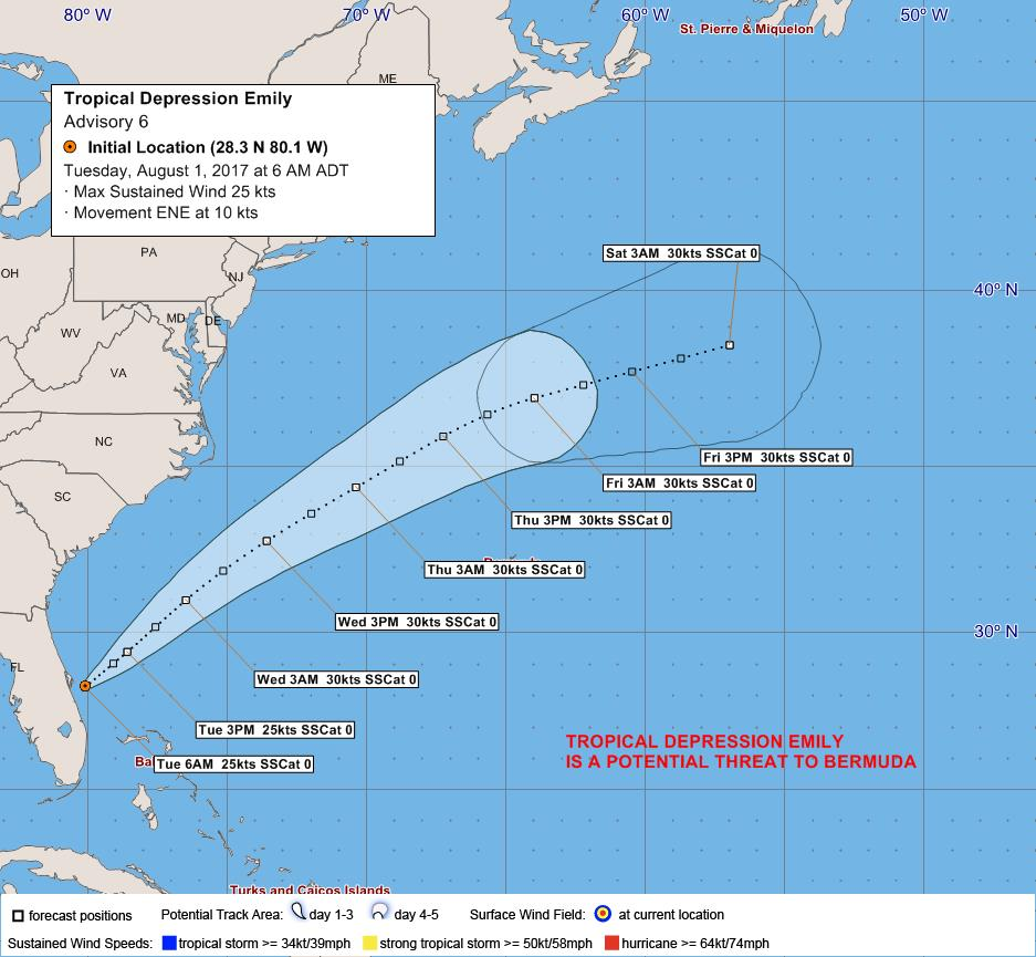 TROPICAL DEPRESSION EMILY August 1 6am