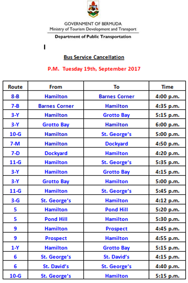 Bus Service Cancellation Bermuda Sept 19 2017 (1)