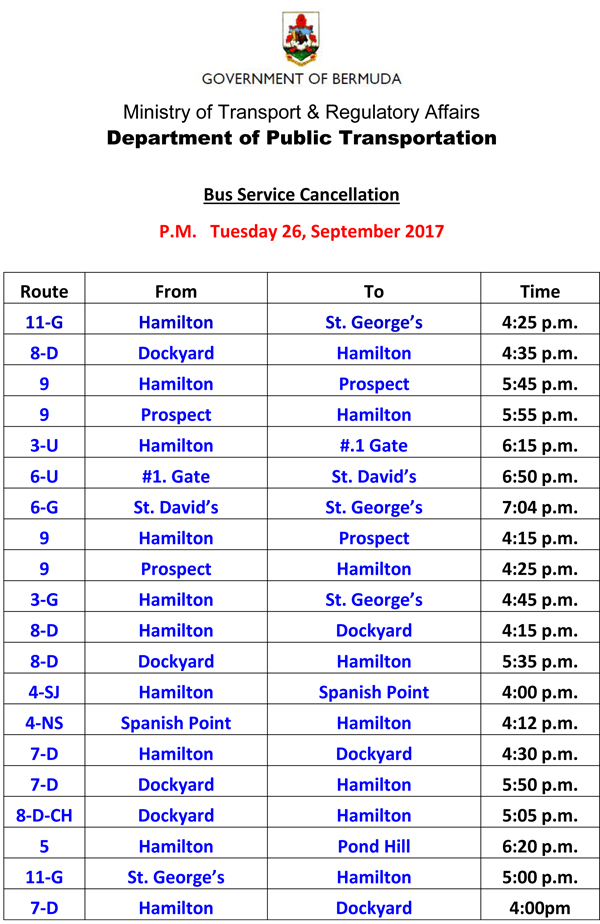 Bus Service Cancellation Tuesday 26-9-2017-2