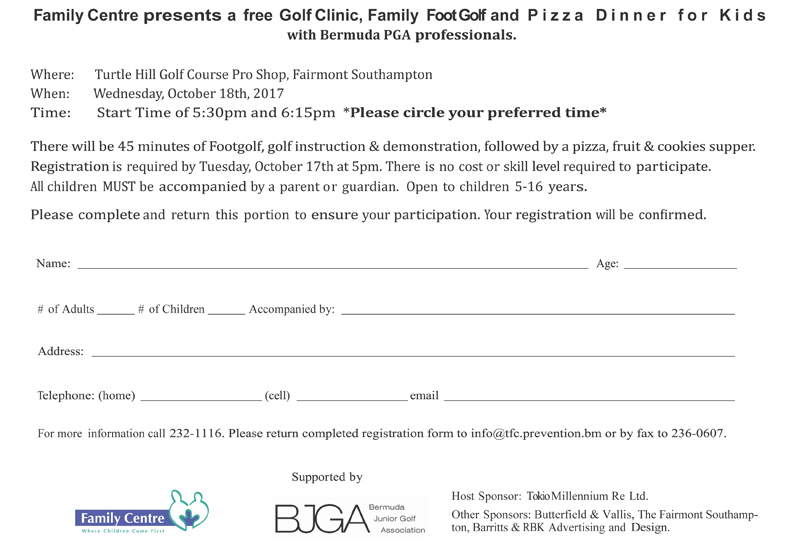 Golf Clinic Registration Form Bermuda Sept 2017