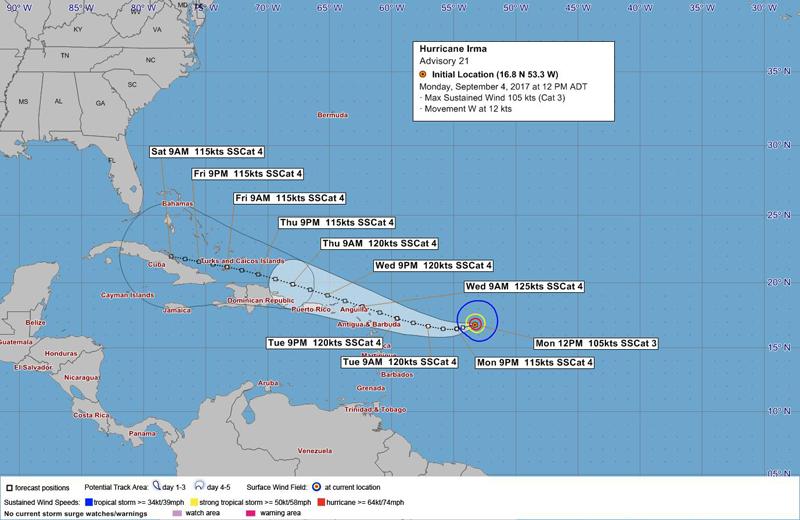 Hurricane Irma - Noon Bermuda Sept 4 2017