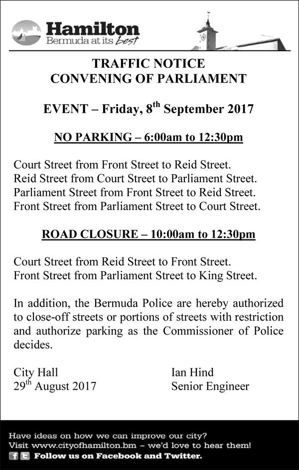 Traffic Notice Convening of Parliament Bermuda Sept 2017