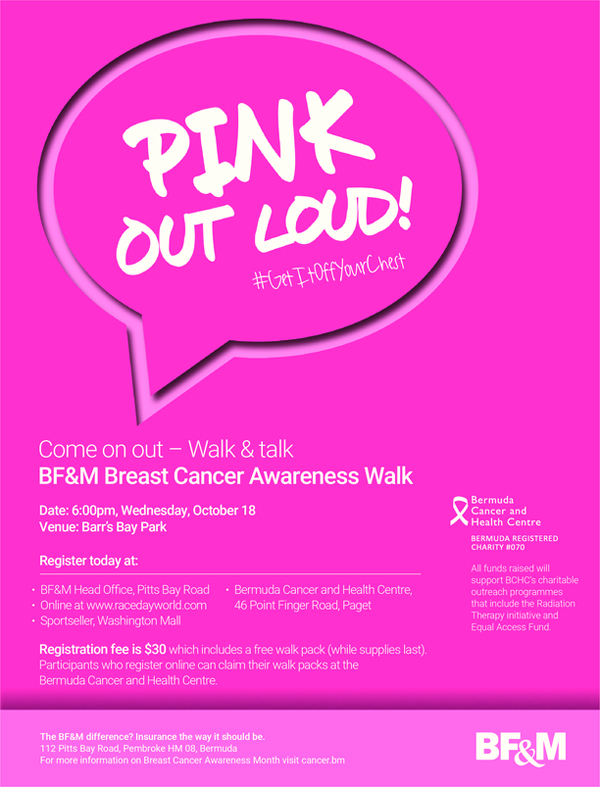 BF&M Breast Cancer Awareness Walk Bermuda Oct 2017